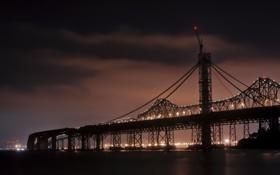 Картинка california, калифорния, night, san francisco, bay bridge