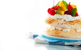 Обои полотенце, тарелка, пирожное, ананас, мята, крем, сладкое