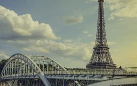 Обои небо, облака, мост, эйфелева башня, париж, франция, paris