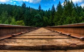 Обои макро, пейзаж, железная дорога
