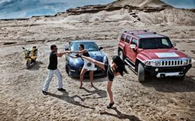 Картинка фотосессия, девушки, hummer, gtr, авто, nissan, bmw