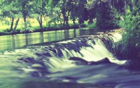 Обои природа, река, Green, берега, Waterfall, River, Stream