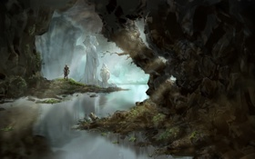 Обои вода, река, человек, арт, пещера, статуи