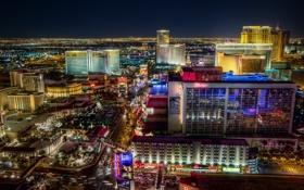 Обои город, огни, дороги, Лас-Вегас, панорама, usa, отели
