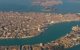 Обои острова, Венеция, море, каналы, лагуна, панорама, дома