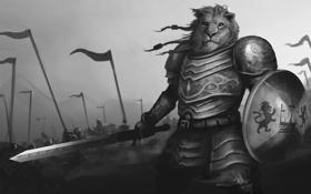 Картинка меч, армия, лев, доспехи, воин, арт, щит