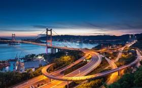 Картинка закат, город, Гонконг, вечер, Hong Kong, висячий мост, Цинма