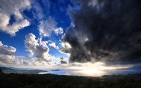 Картинка море, небо, солнце, облака, лучи, пейзаж, природа