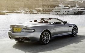 Картинка фон, Aston Martin, яхты, DB9, кабриолет, вид сзади, набережная