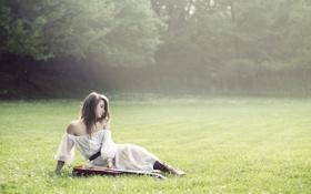 Обои поле, девушка, настроение, гитара