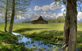 Обои США, трава, фото, дом, деревья, природа, Grand Teton