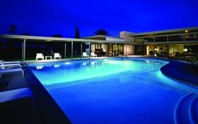 Обои вилла, бассейн, вечер, настроение