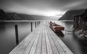 Картинка горы, озеро, лодка, причал, мостик