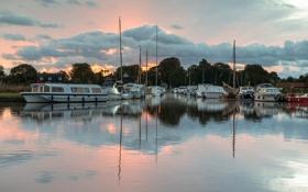 Картинка рассвет, пристань, лодки, утро