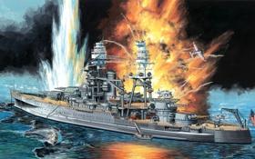 Обои огонь, атака, рисунок, корабль, взрывы, арт, американский