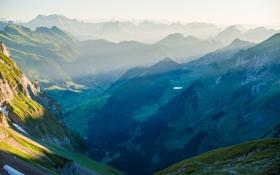 Обои лес, пейзаж, горы, долина, горный хребет, панорамма, Switzerland in the Alpsteinmassiv