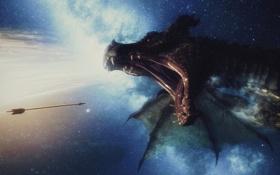 Картинка небо, звезды, дракон, игра, пасть, стрела, Skyrim