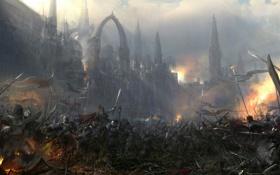 Картинка замок, арт, битва, мечи, воины, знамёна
