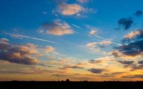 Обои закат, пейзаж, небо, облака, природа, вечер