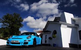 Обои дом, голубой, суперкар, спорткар, porsche, порше, Blue