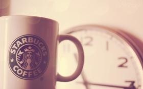 Обои starbucks, часы, логотип, чашка, кружка