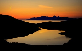 Картинка закат, горы, озеро, вид, силуэт, зарево