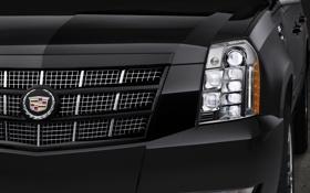 Обои чёрный, Cadillac, фара, джип, внедорожник, эмблема, Escalade