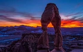 Обои снег, скалы, рассвет, каньон