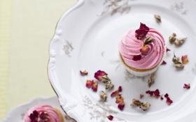 Картинка розовый, розы, сладости, пирожное, крем, десерт