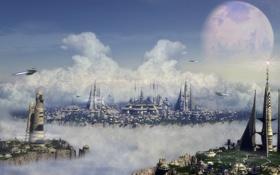 Обои будущего, город, облака