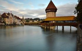 Обои дома, Швейцария, Люцерн, мост Капельбрюкке, башня Вассертурм