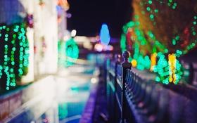 Обои деревья, ночь, город, огни, забор, вечер, ограда