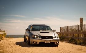 Обои песок, берег, Subaru, субару, Legacy, легаси, спортивный седан