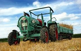 Обои поле, трактор, прицеп