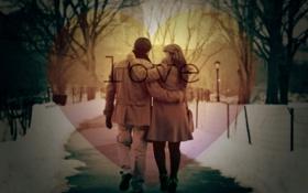 Картинка город, парк, Любовь, девушка с мужчиной