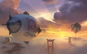 Обои США, USA, Калифорния, закат, небо, San Francisco, Сан-Фр