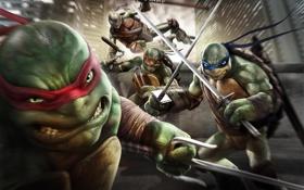 Картинка Teenage Mutant Ninja Turtles: Out of the Shadows, нунчаки, мечи, Леонардо, Донателло, Donatello, палка