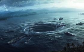 Обои море, озеро, молния, корабли, катастрофа, арт, воронка