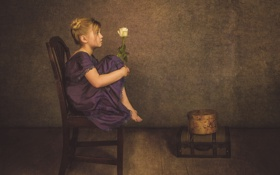 Картинка роза, стул, девочка