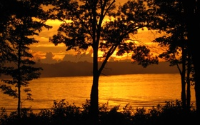 Картинка природа, река, берега, золотой закат
