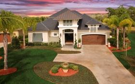 Картинка газон, город, особняк, деревья, фото, дом, дизайн