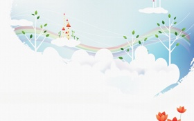 Обои облака, деревья, цветы, радуга, воздушные замки