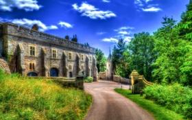 Обои дорога, трава, деревья, замок, обработка, Великобритания, Chirk Castle