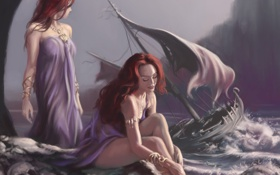 Картинка море, девушки, скалы, корабль, парусник, арт, сирены