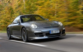 Обои дорога, car, лес, скорость, Porsche, road, speed