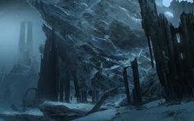Картинка снег, горы, ночь, скалы, башня, арт, руины