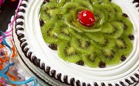Обои еда, киви, торт, пирожное, cake, крем, десерт