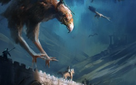 Обои фантастика, птица, полет, арт, крылья, мост