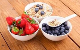 Обои хлопья, Здоровый завтрак, мюсли с молоком и фруктами и ягодами