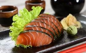 Обои суши, sushi, decoration, роллы, зелень, rolls, оформление